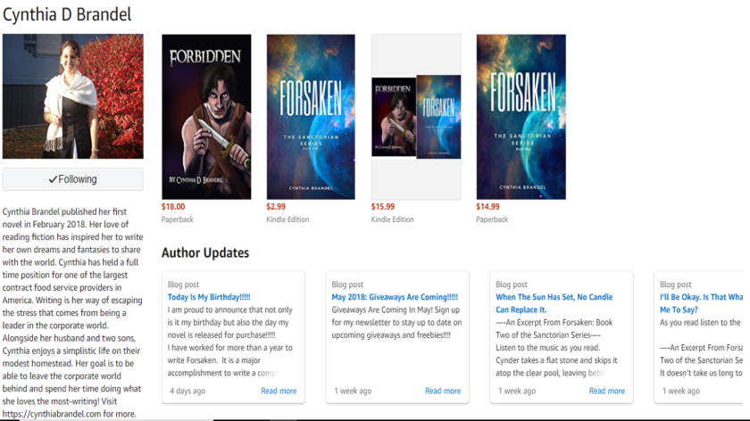 Screen Shot of Author Page
